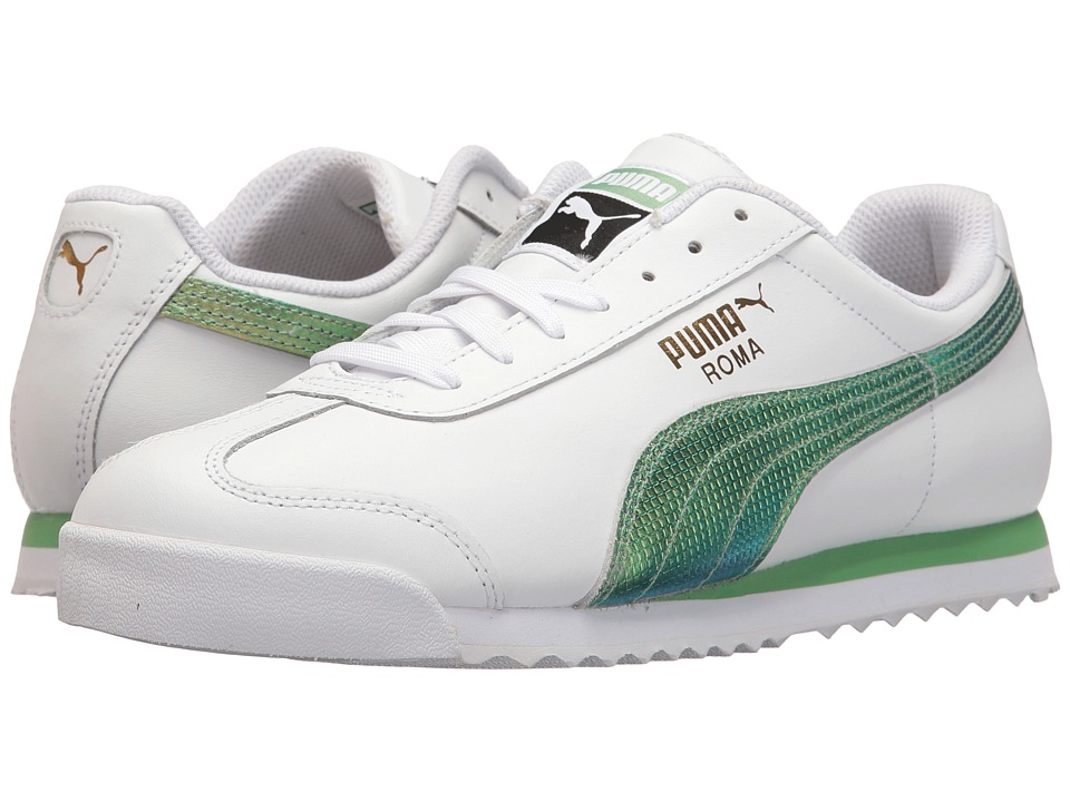 PUMA - Roma Classic Holo (Puma White/Green Gecko) Men's Shoes