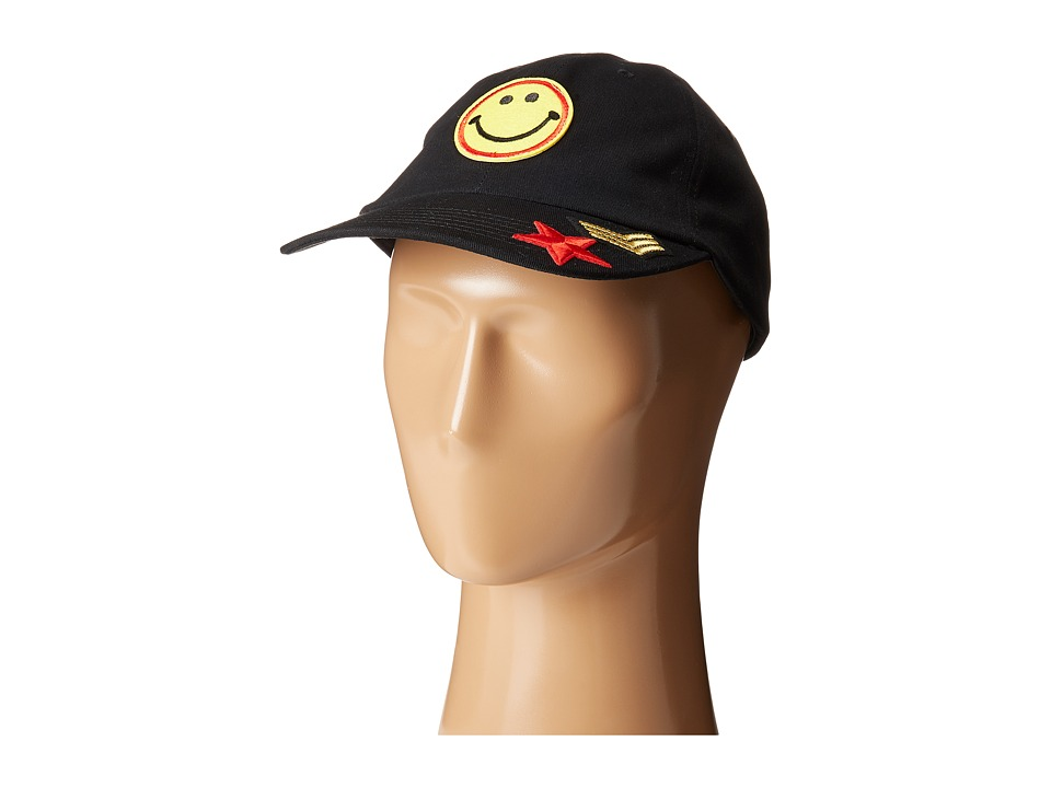 Steve Madden - Smiley Face Patch Baseball Cap (Black) Caps