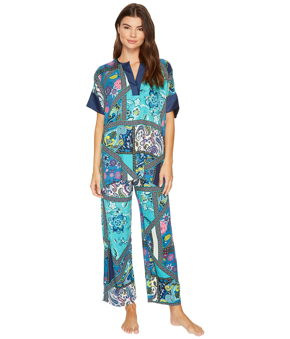 N by Natori - Bandana Rose PJ Set (Blue Multi) Women's Pajama Sets