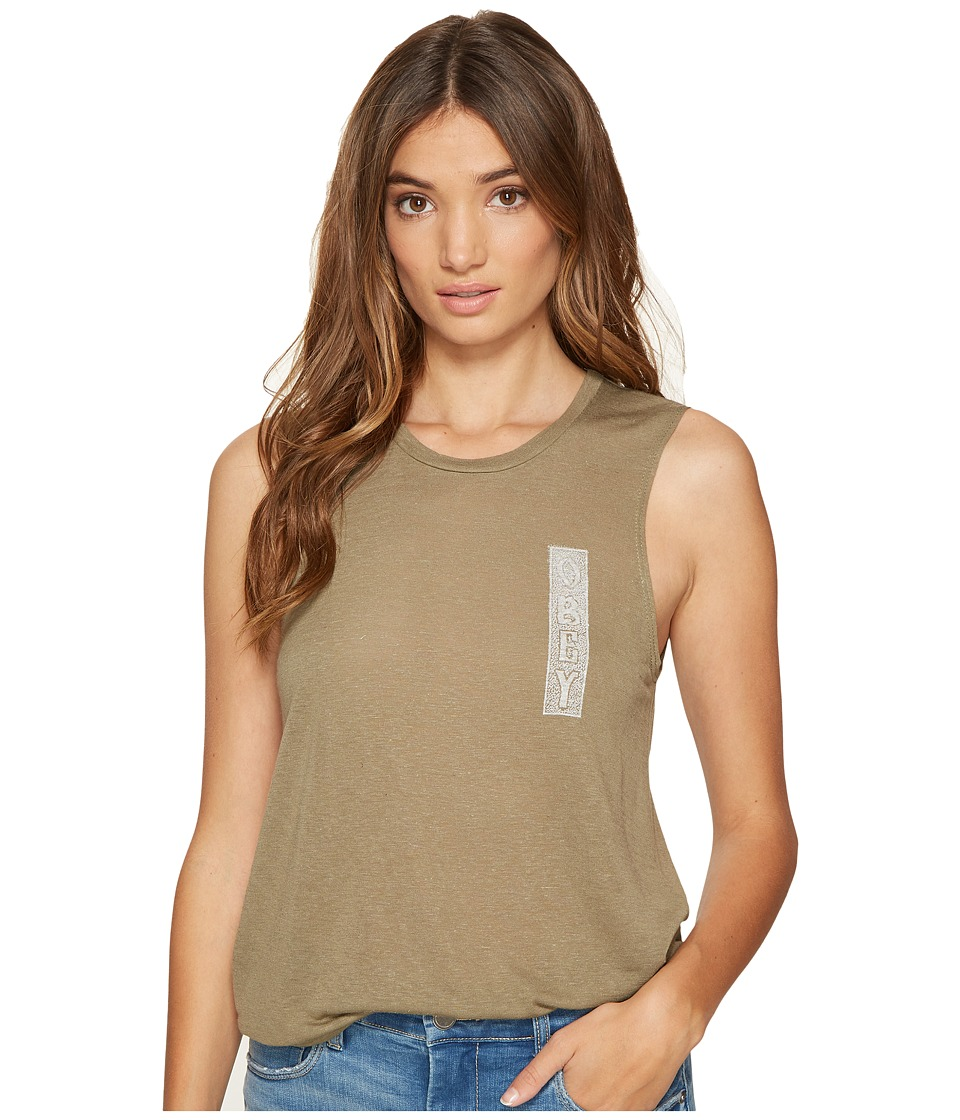 Obey - Nomadic Moto Tank Top (Olive) Women's Sleeveless