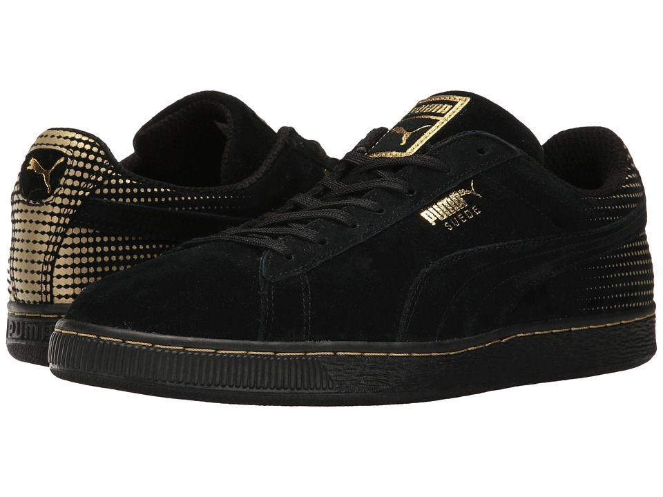 PUMA - Suede Metallic Fade (Black/Metallic Gold) Men's Shoes