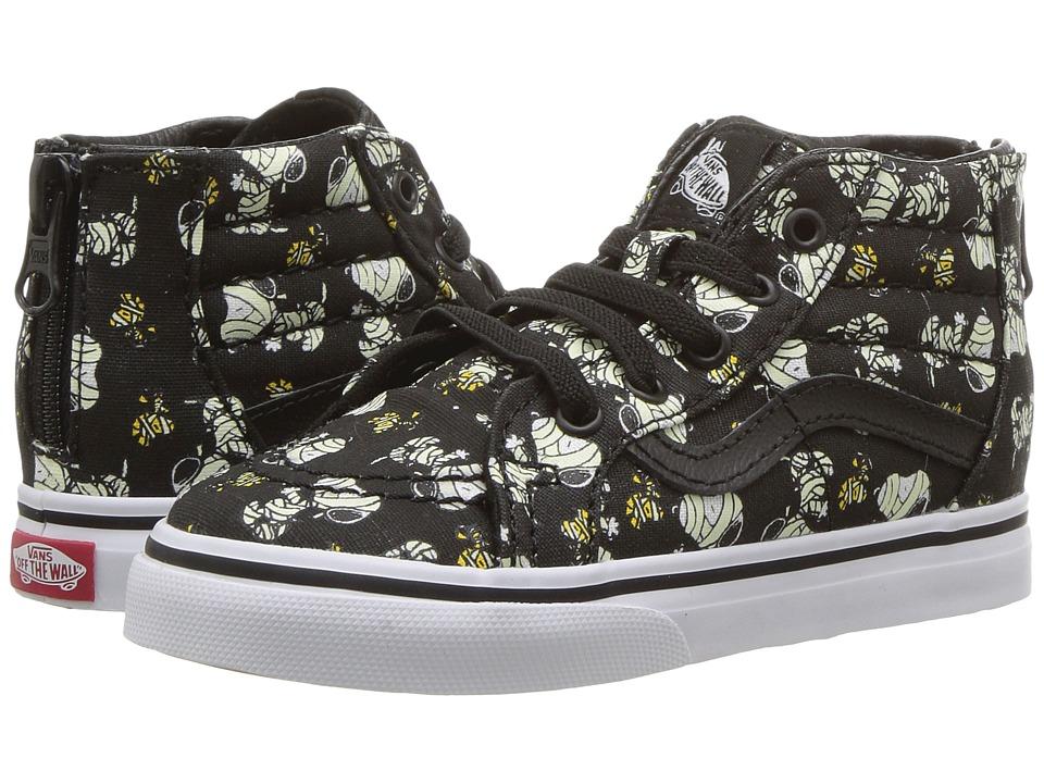 Vans Kids Sk8-Hi Zip x Peanuts (Toddler) ((Peanuts) Glow Mummies/Black) Kids Shoes