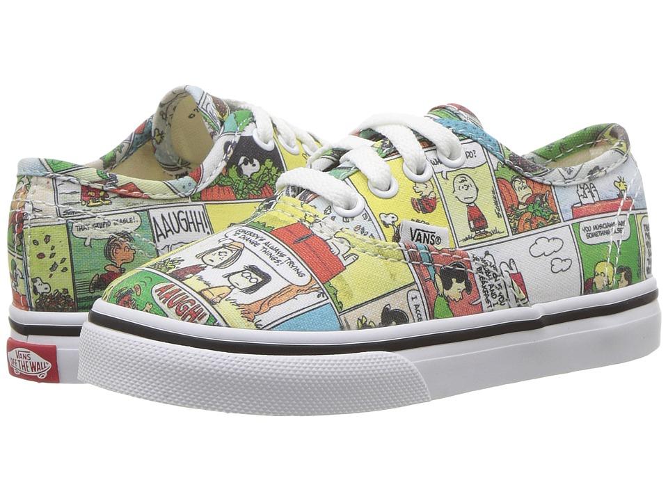 Vans Kids Authentic x Peanuts (Toddler) ((Peanuts) Comics/Black/True White) Kids Shoes