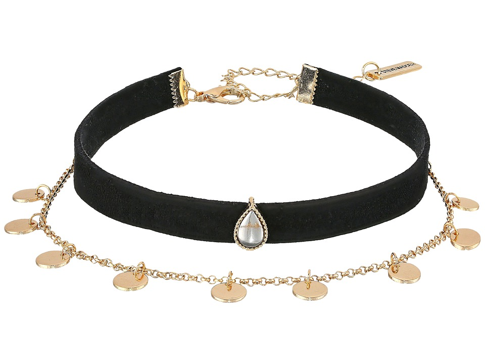 Steve Madden - Disc Chain Suede Choker Necklace (Gold) Necklace