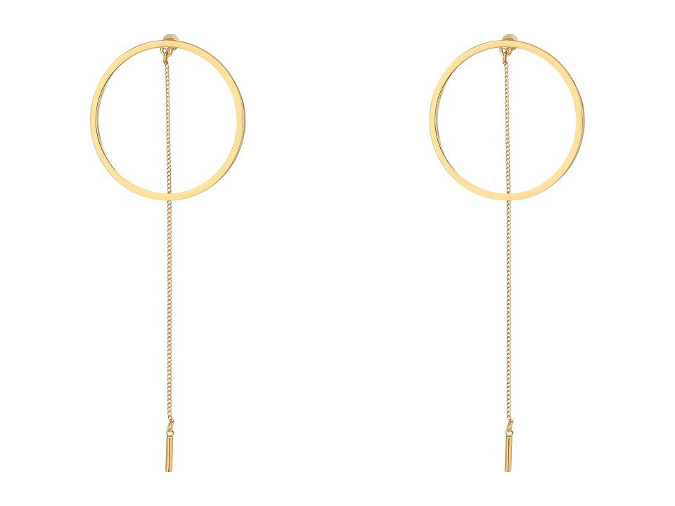 Steve Madden - Long Ring w/ Chain Post Earrings (Gold) Earring