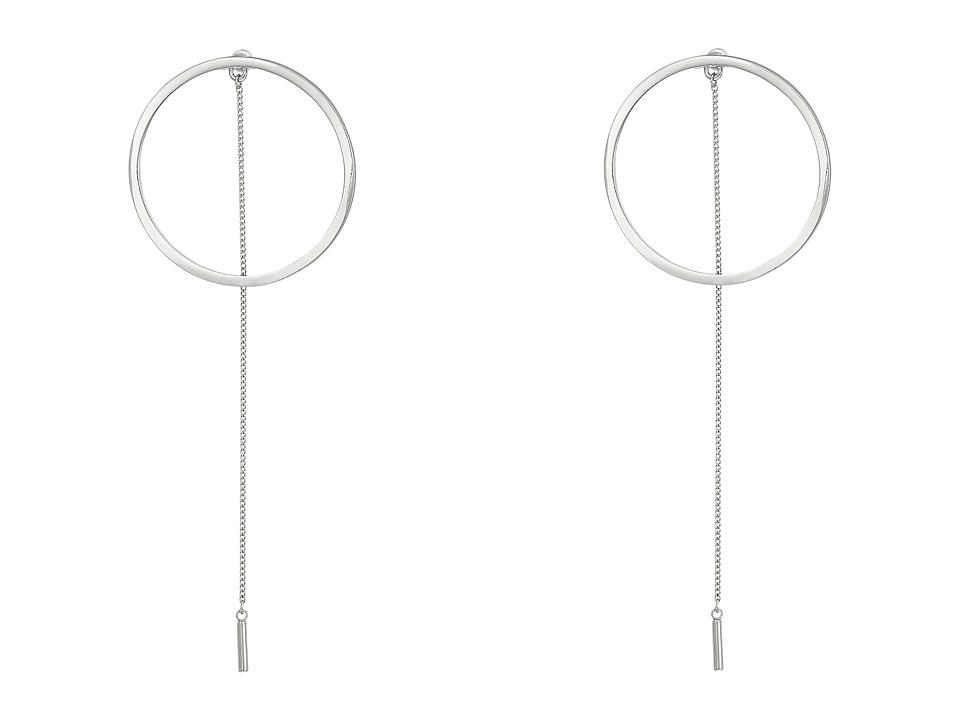 Steve Madden - Long Ring w/ Chain Post Earrings (Silver) Earring