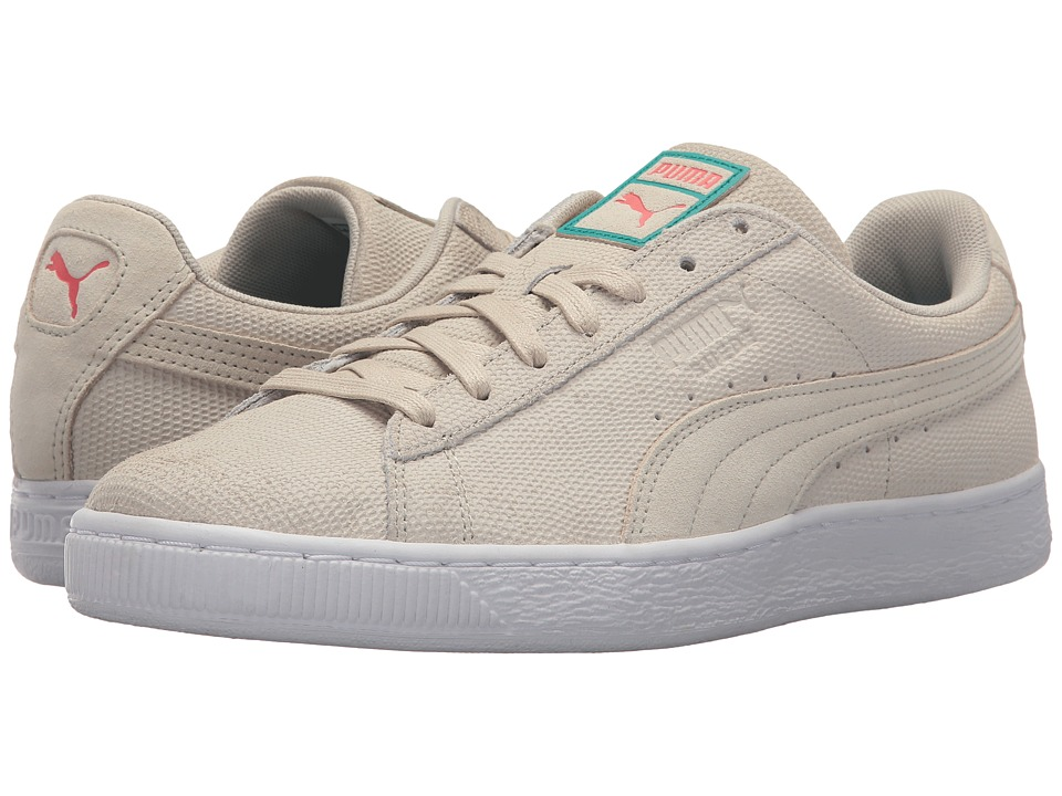 PUMA - Suede Caribbean Sand (Birch/Hot Coral) Men's Shoes