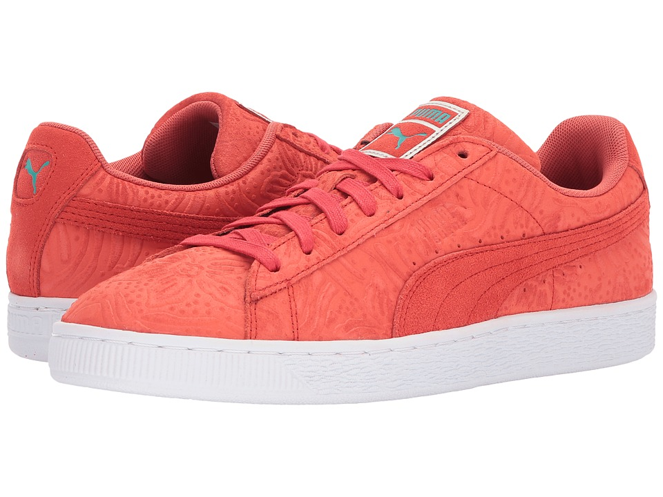 PUMA Suede Caribbean Floral (Hot Coral/Spectra Green) Men