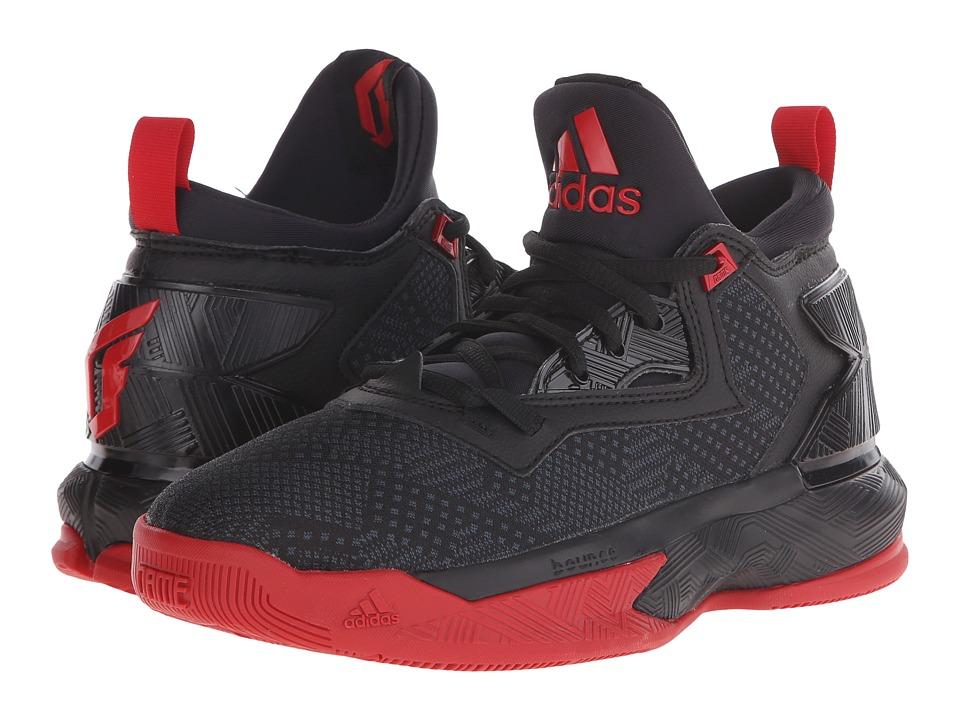 adidas Kids D Lillard 2 (Big Kid) (Black/Scarlet/Black) Kids Shoes