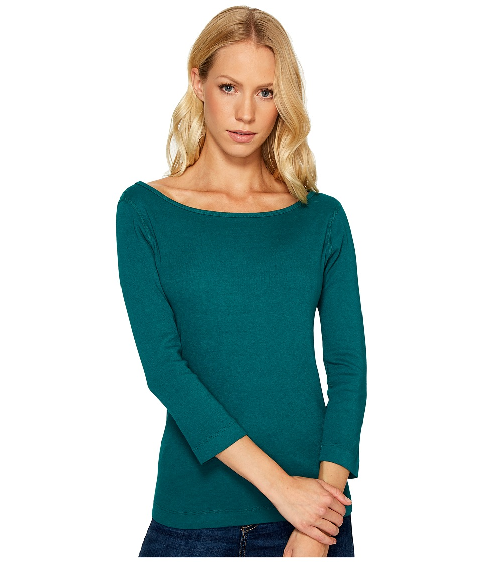 Three Dots - Essential British Neck 3/4 Sleeve Top (Teal Shores) Women's Clothing