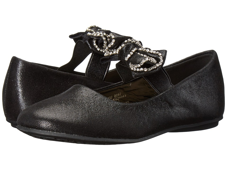 kensie girl Kids Bow Strap Flat (Little Kid/Big Kid) (Black) Girls Shoes