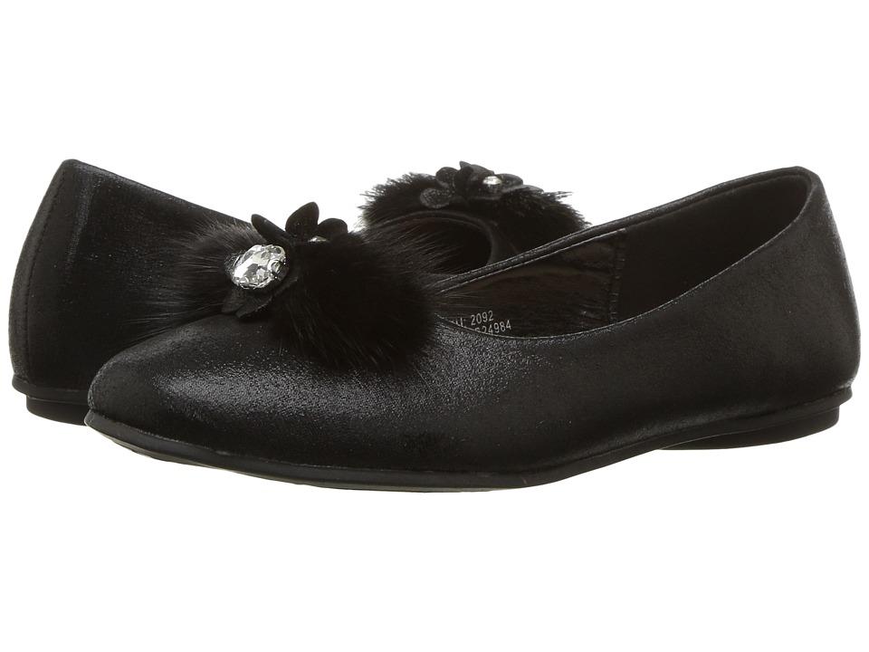 kensie girl Kids Fuzzy Toe Flat (Little Kid/Big Kid) (Black) Girls Shoes