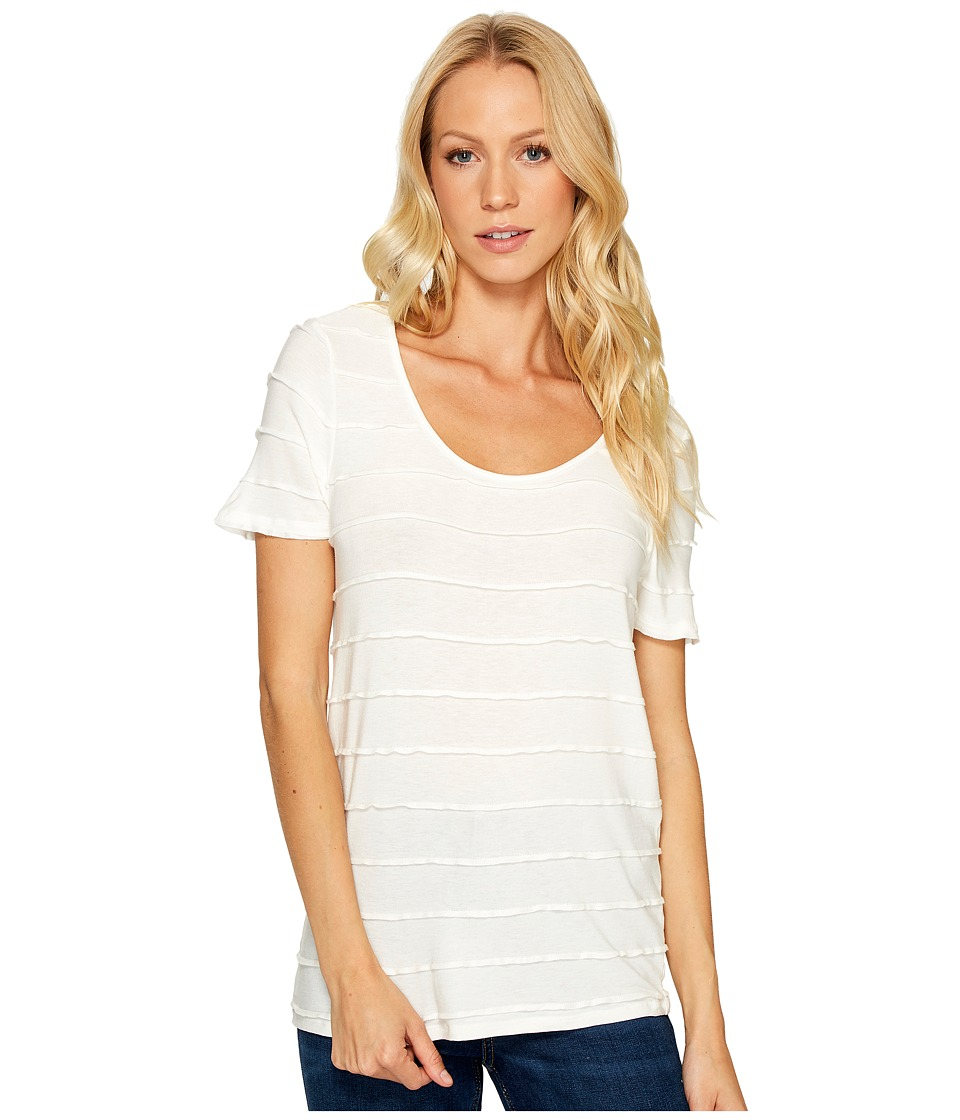 Three Dots - Pintuck Jersey Short Sleeve Tee (White) Women's T Shirt
