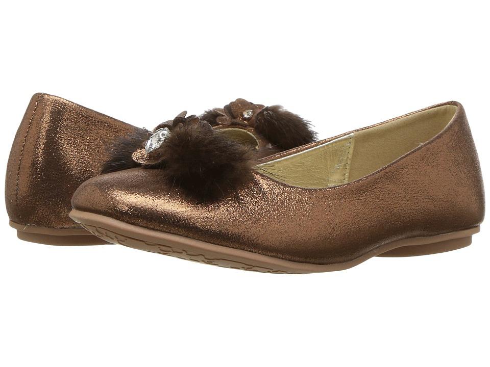 kensie girl Kids Fuzzy Toe Flat (Little Kid/Big Kid) (Bronze) Girls Shoes