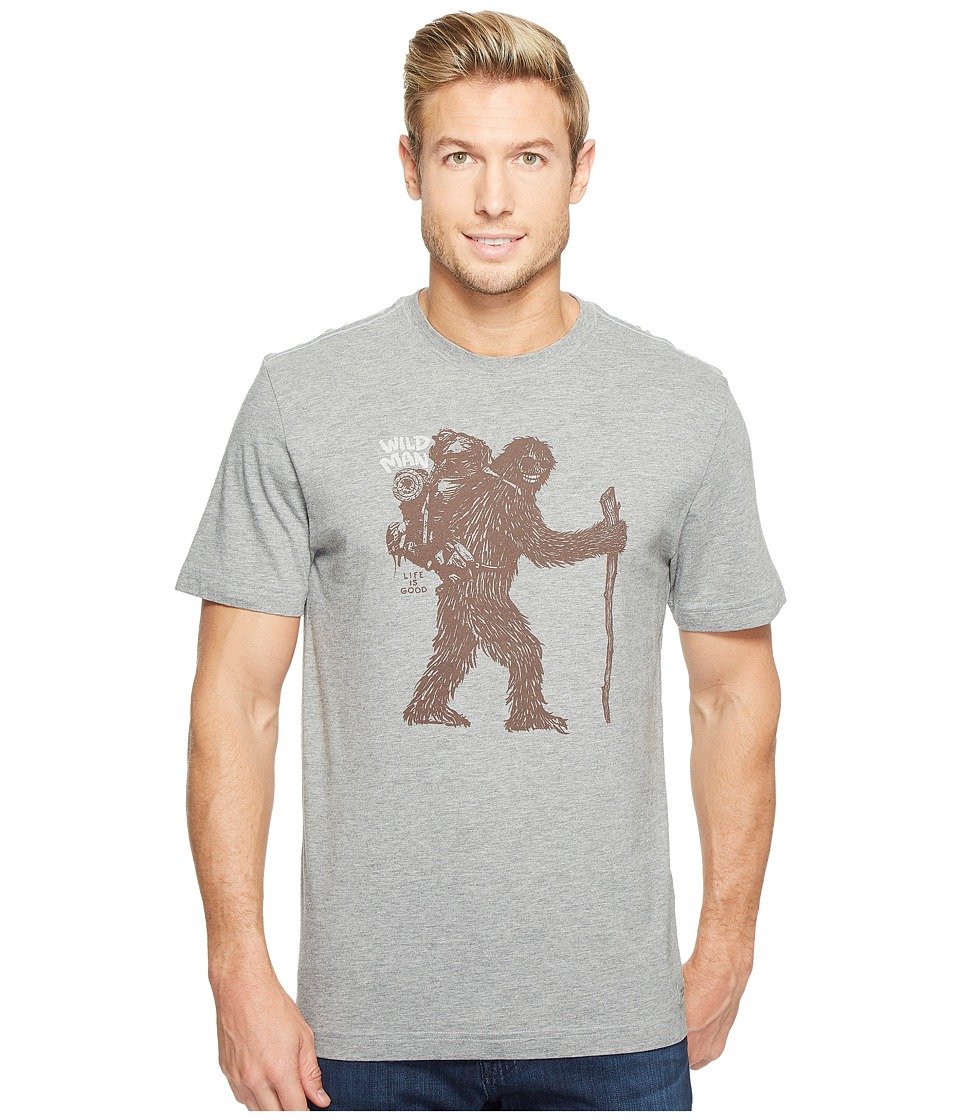 Life is Good - Wild Man Bigfoot Crusher Tee (Heather Gray) Men's T Shirt