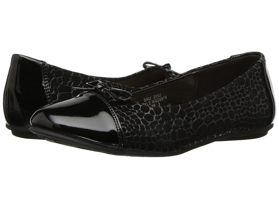 kensie girl Kids Textured Flat with Patent Toe (Little Kid/Big Kid) (Black) Girls Shoes