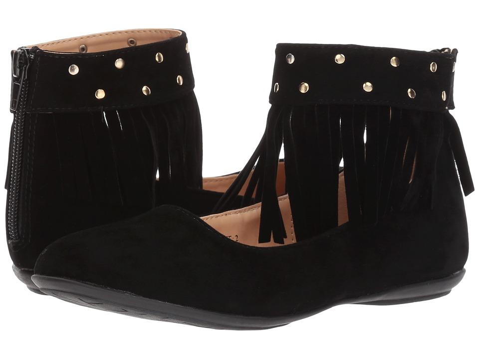 kensie girl Kids Fringe Ankle Flat (Little Kid/Big Kid) (Black) Girls Shoes
