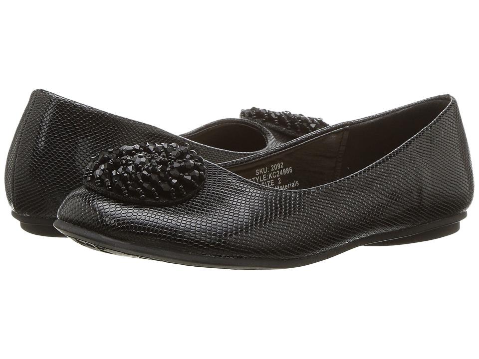 kensie girl Kids Patent Flat with Embellished Toe (Little Kid/Big Kid) (Black) Girls Shoes