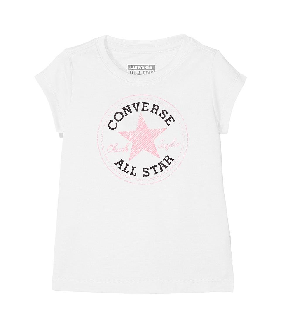 Converse Kids - Chuck Patch Tee (Toddler/Little Kids) (White) Girl's T Shirt
