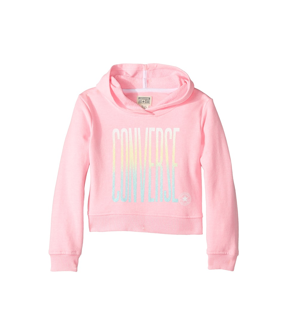 Converse Kids - Ombre Cropped Pullover Hoodie (Toddler/Little Kids) (Pink Glow Print) Girl's Clothing