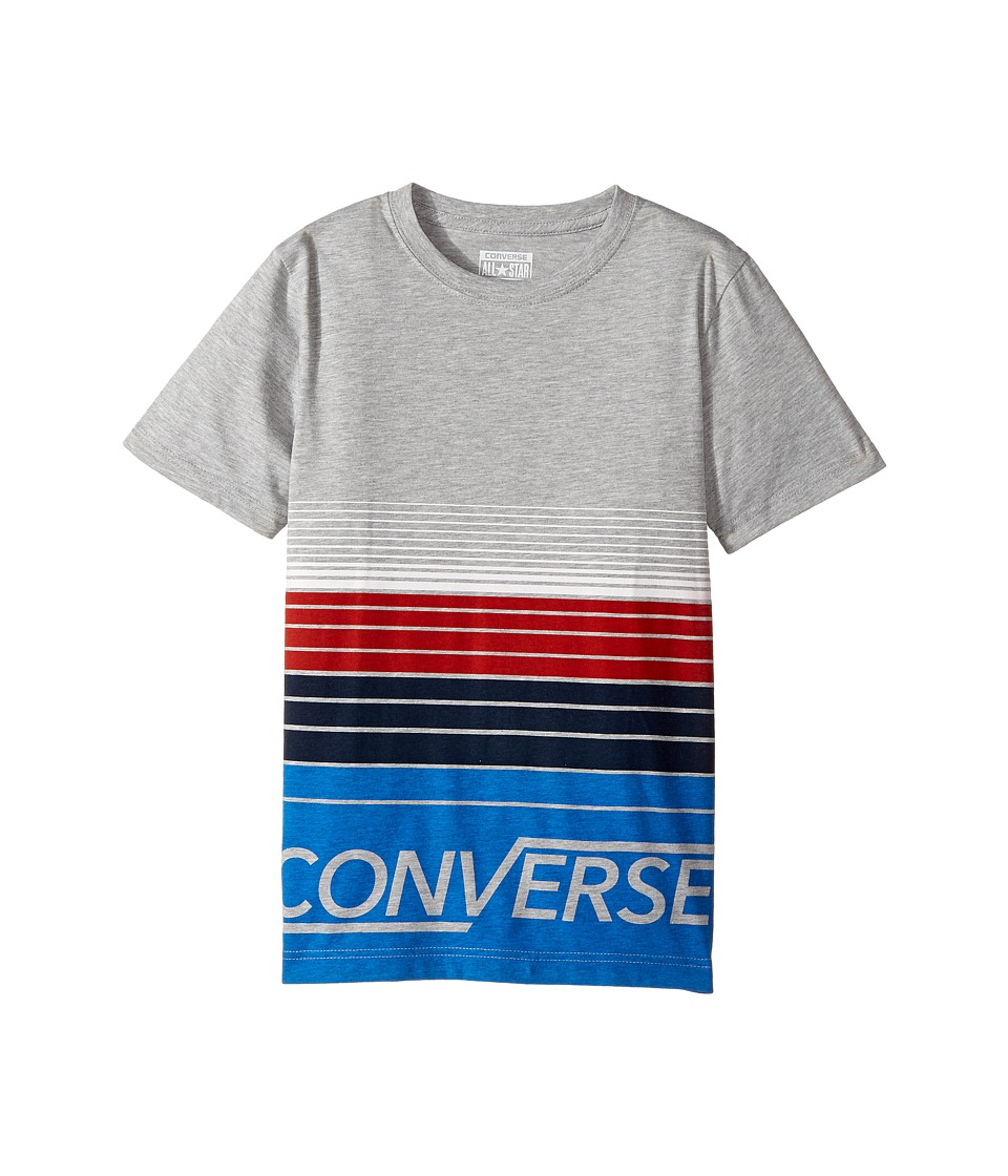 Converse Kids - Multi Stripe Tee (Big Kids) (Dark Grey Heather) Boy's T Shirt