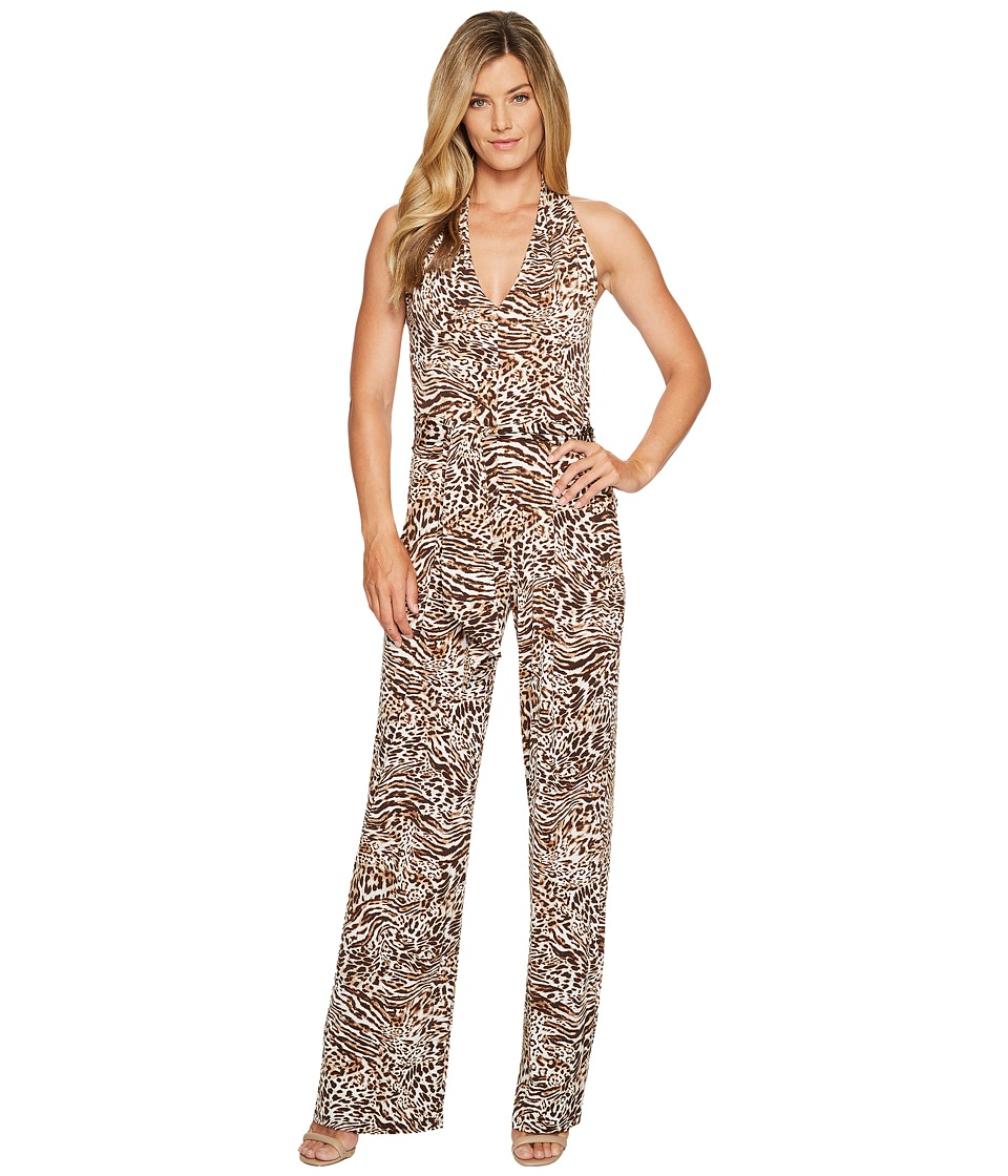 MICHAEL Michael Kors - Big Cat Halter Jumpsuit (Chocolate) Women's Jumpsuit & Rompers One Piece