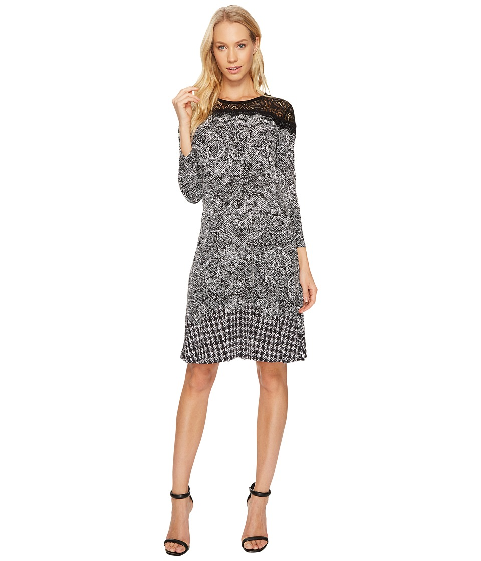 MICHAEL Michael Kors Pasiley Houndstooth Lace Dress (Black) Women