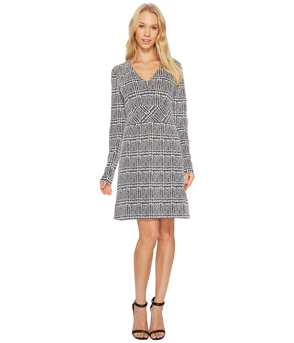MICHAEL Michael Kors Plaid Jacquard Fit and Flare Dress (Black) Women
