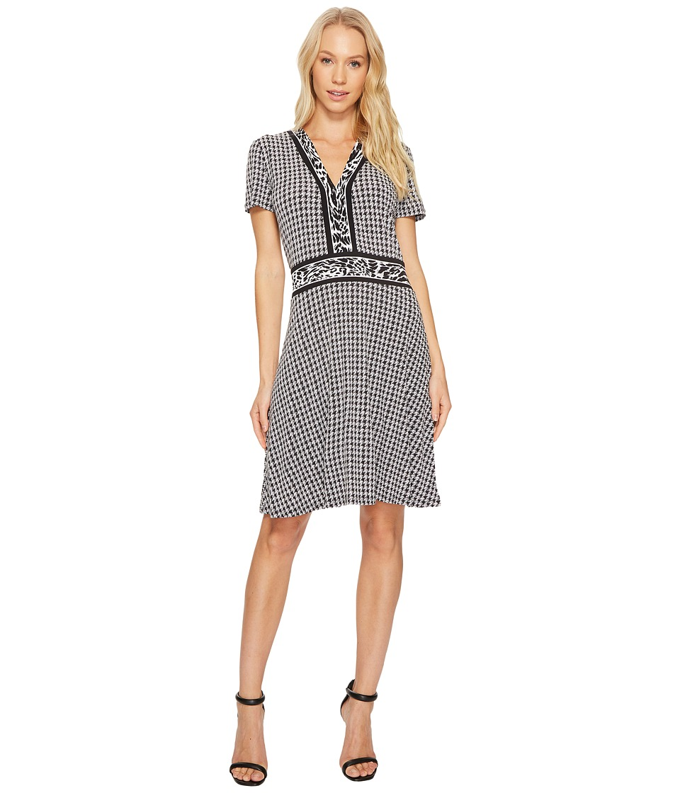 MICHAEL Michael Kors Houndstooth Cat Border Dress (Black) Women