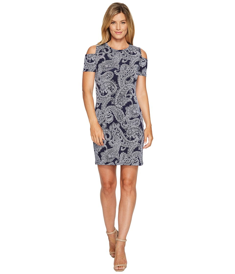MICHAEL Michael Kors Samara Cold Shoulder Dress (True Navy) Women