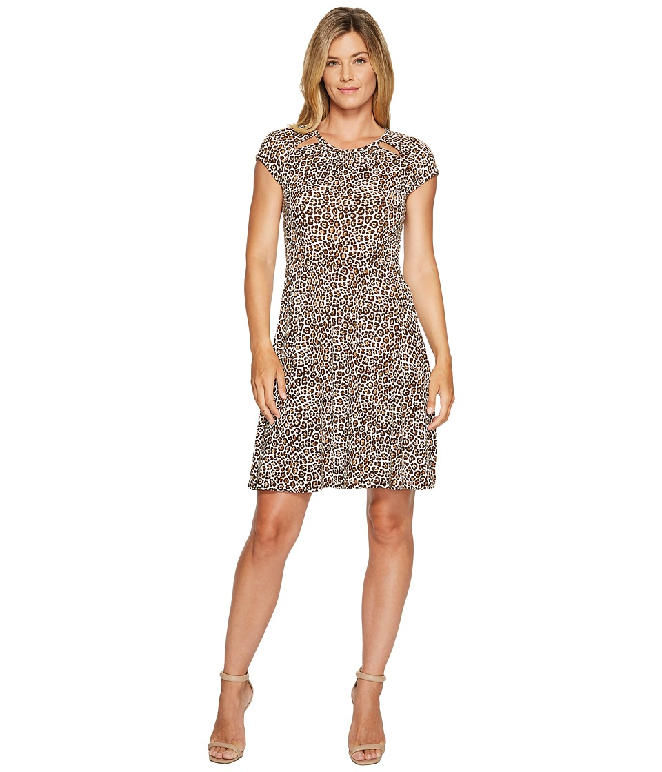 MICHAEL Michael Kors Leo Shirred Neck Dress (Chocolate) Women