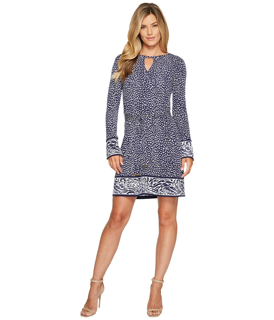 MICHAEL Michael Kors Cheetah Border Dress (True Navy) Women