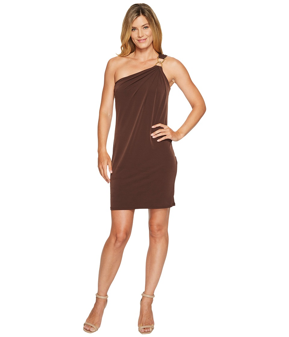 MICHAEL Michael Kors One Shoulder Dress with Trim (Chocolate) Women