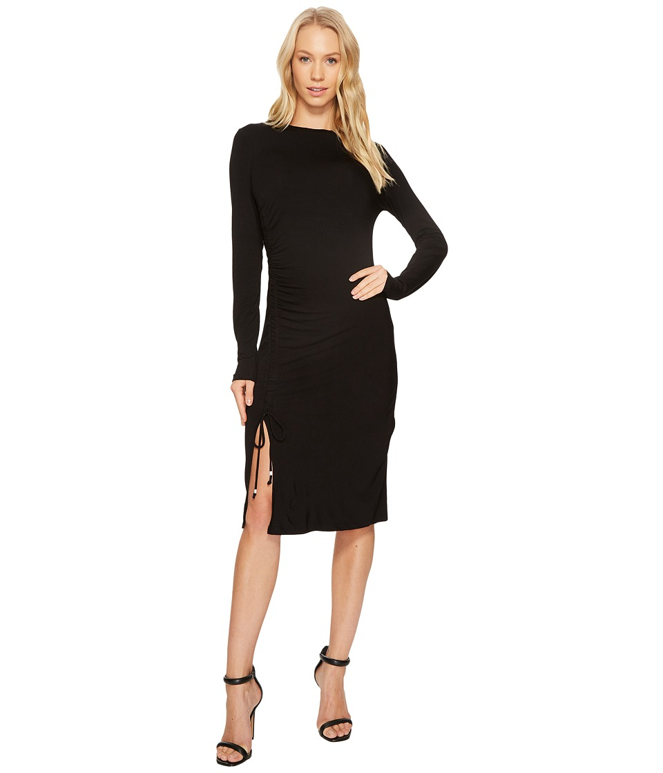 MICHAEL Michael Kors Long Sleeve Asymmetrical Rouched Dress (Black) Women