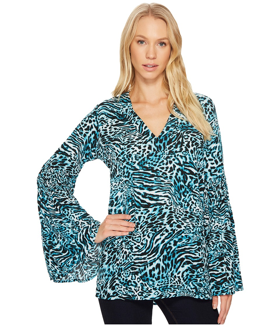 MICHAEL Michael Kors - Big Cat Bell Sleeve Tunic (Dark Peacock) Women's Blouse