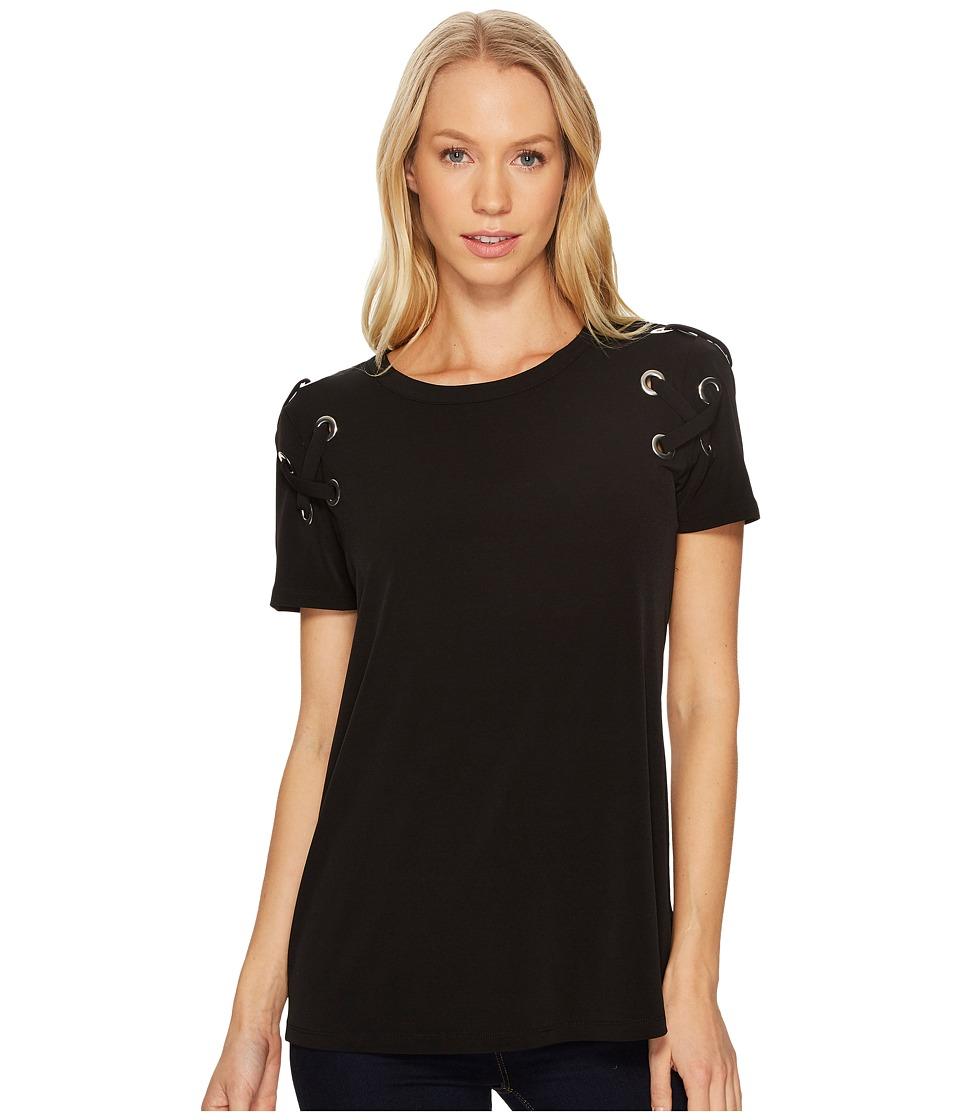 MICHAEL Michael Kors - Short Sleeve Armhole Lacing Tee (Black) Women's T Shirt