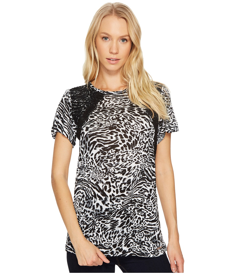 MICHAEL Michael Kors - Big Cat Lace Crew Tee (Black) Women's T Shirt