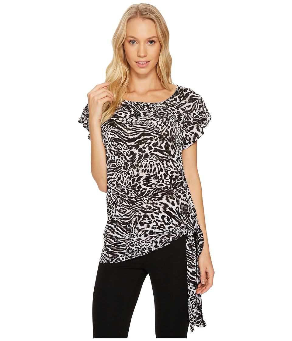 MICHAEL Michael Kors - Big Cat Side Tie Top (Black) Women's Clothing