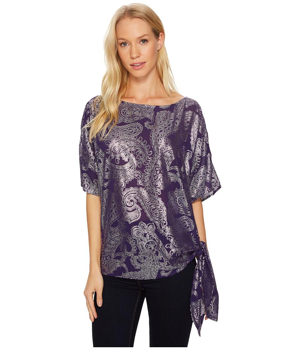 MICHAEL Michael Kors - Samara Tie Top (Iris/Silver) Women's Clothing