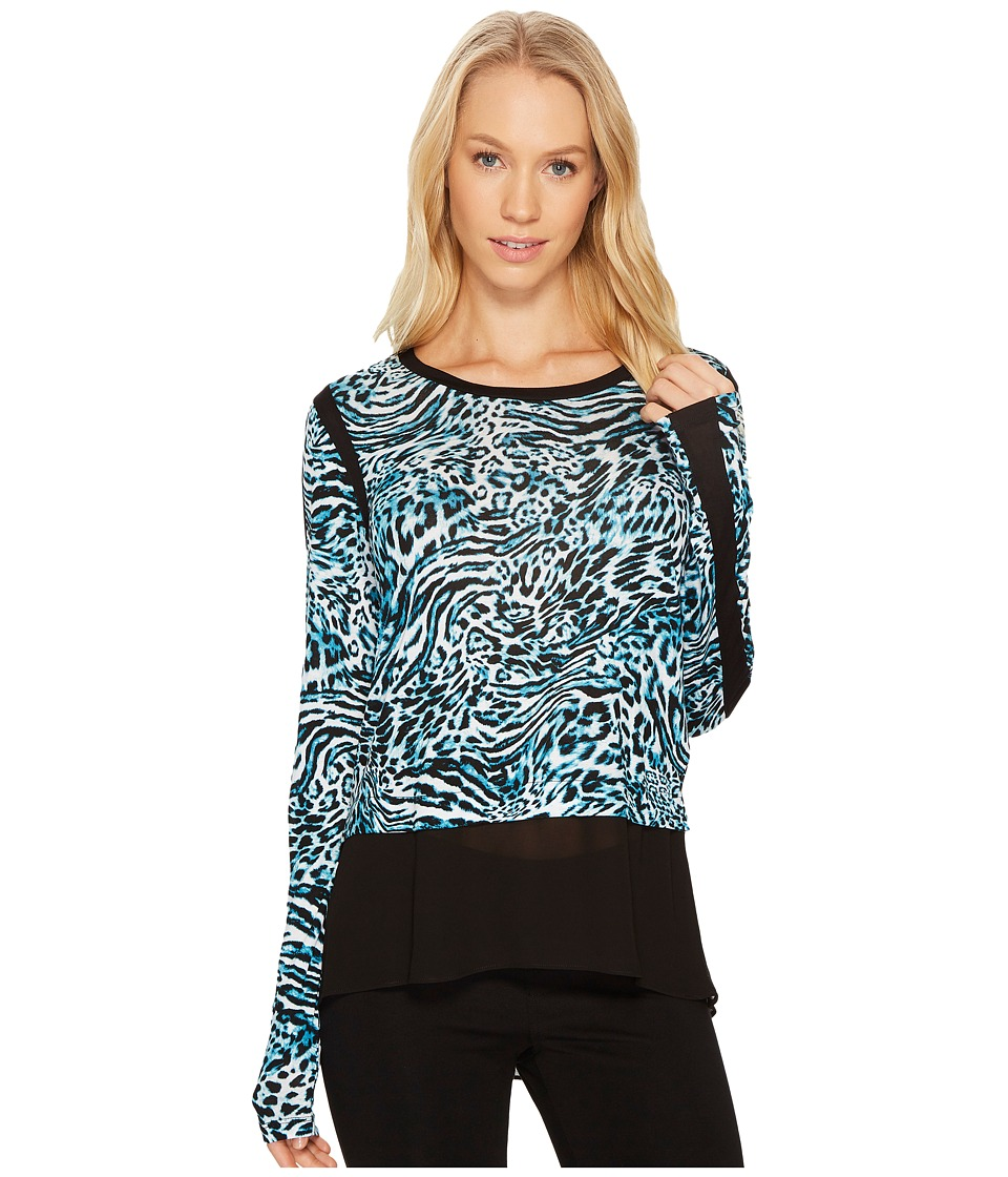 MICHAEL Michael Kors - Big Cat Woven Combo Top (Dark Peacock) Women's Clothing