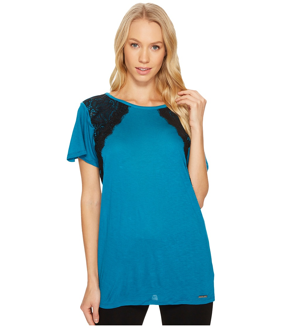 MICHAEL Michael Kors - Lace Short Sleeve Crew Neck Top (Deep Teal) Women's Clothing