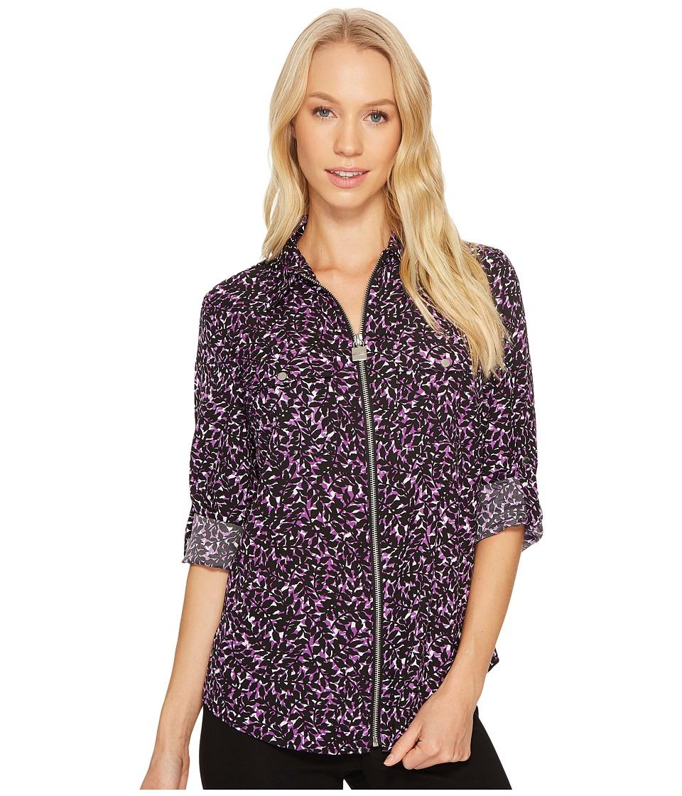 MICHAEL Michael Kors - Leaf Print Lock Zip Top (Violet Glaze) Women's Clothing