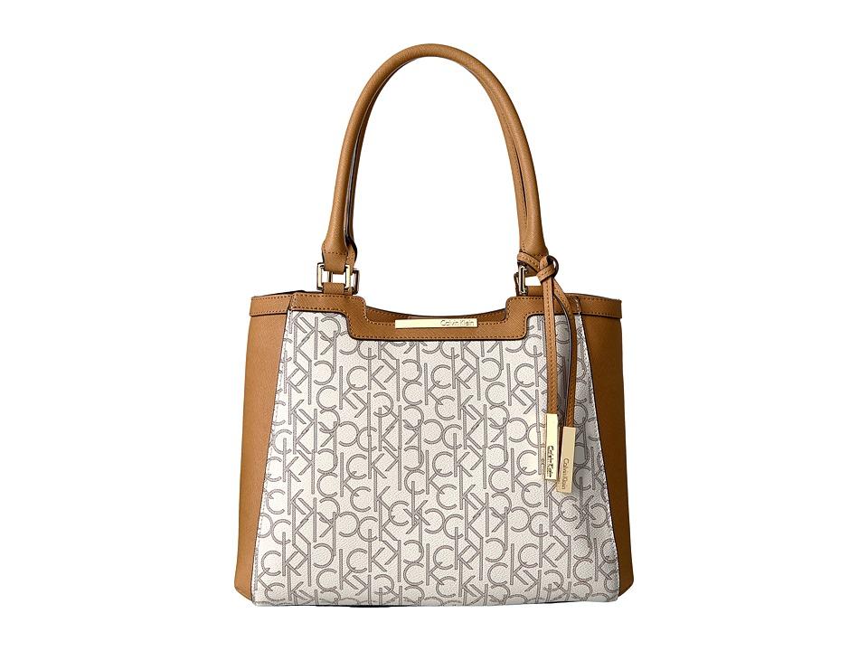 Calvin Klein - Key Item Monogram Tote (Almond/Khaki/Cashew Saffiano) Tote Handbags