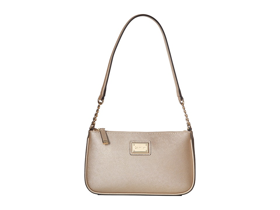 Calvin Klein - Saffiano Demi (Metallic Taupe) Shoulder Handbags