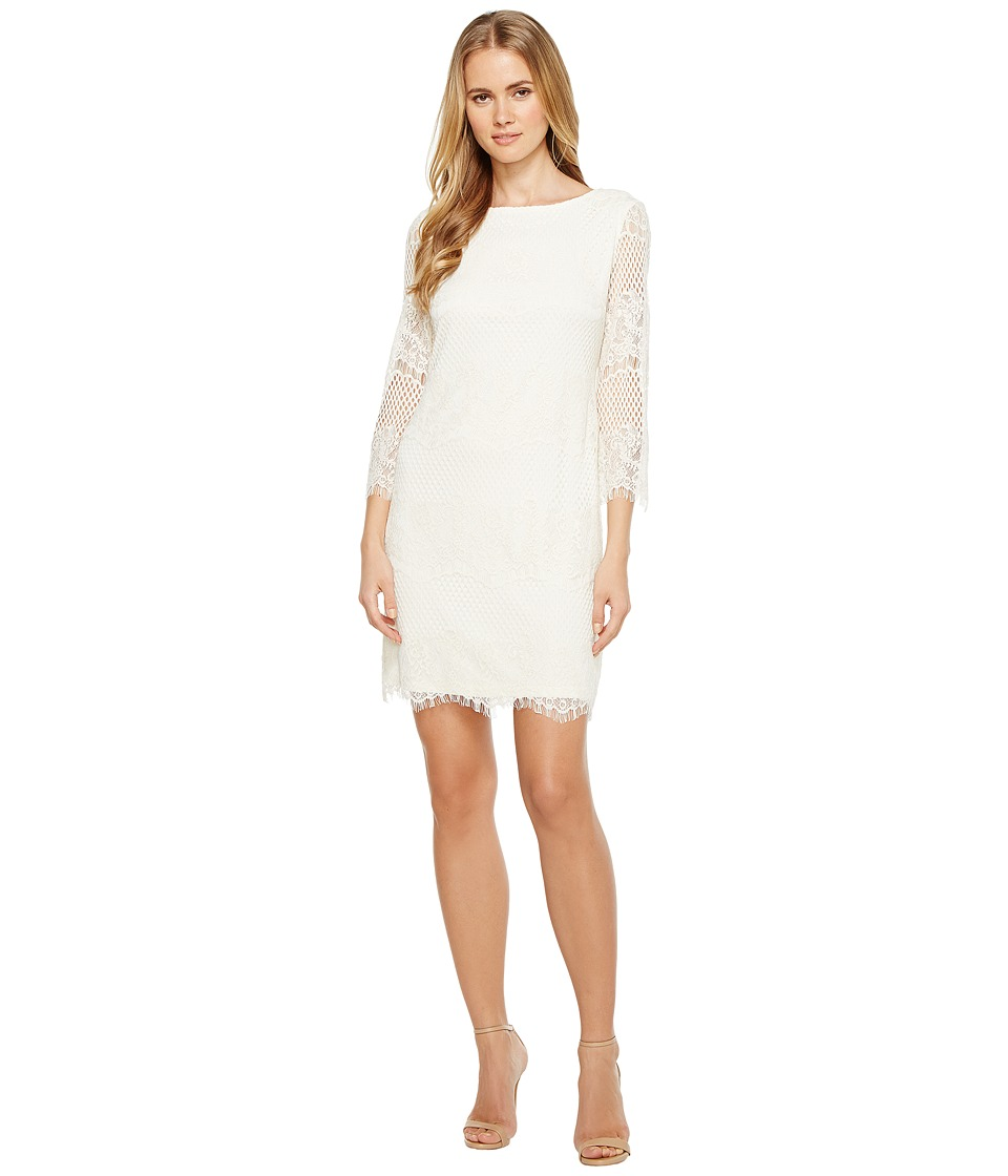London Times Long Sleeve Lace Shift Dress (Natural) Women