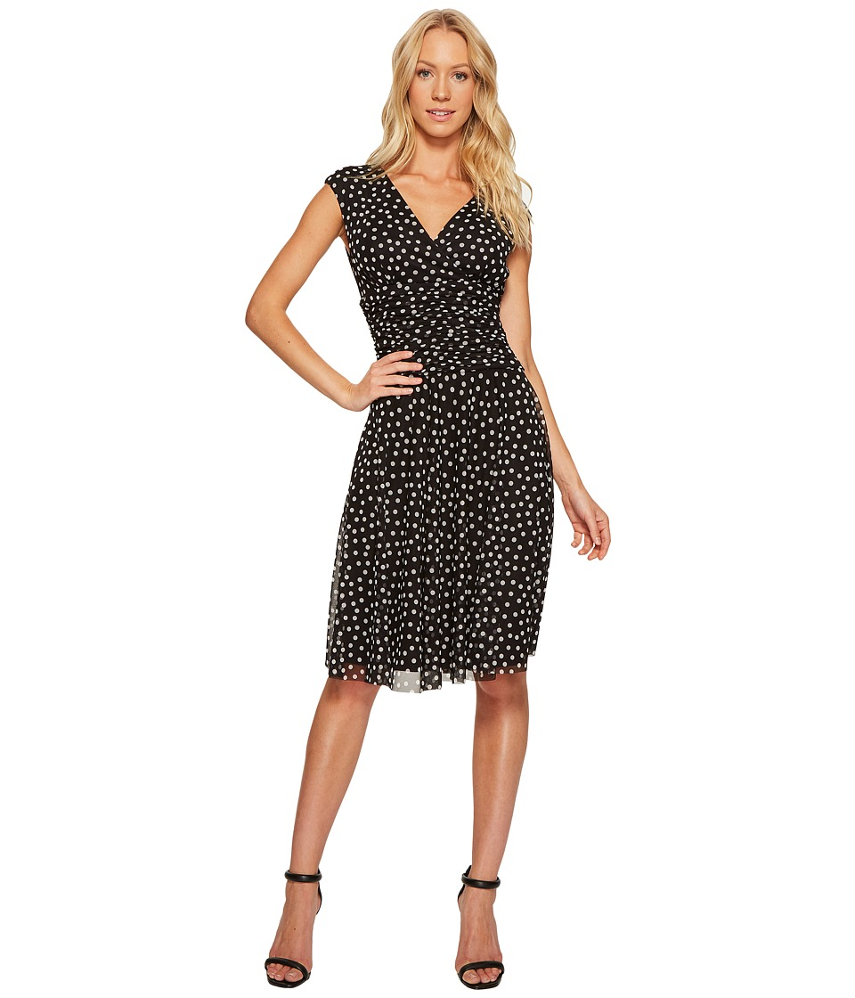 London Times - Dot Mesh Gathered Dress w/ Full Skirt (Black/White) Women's Dress