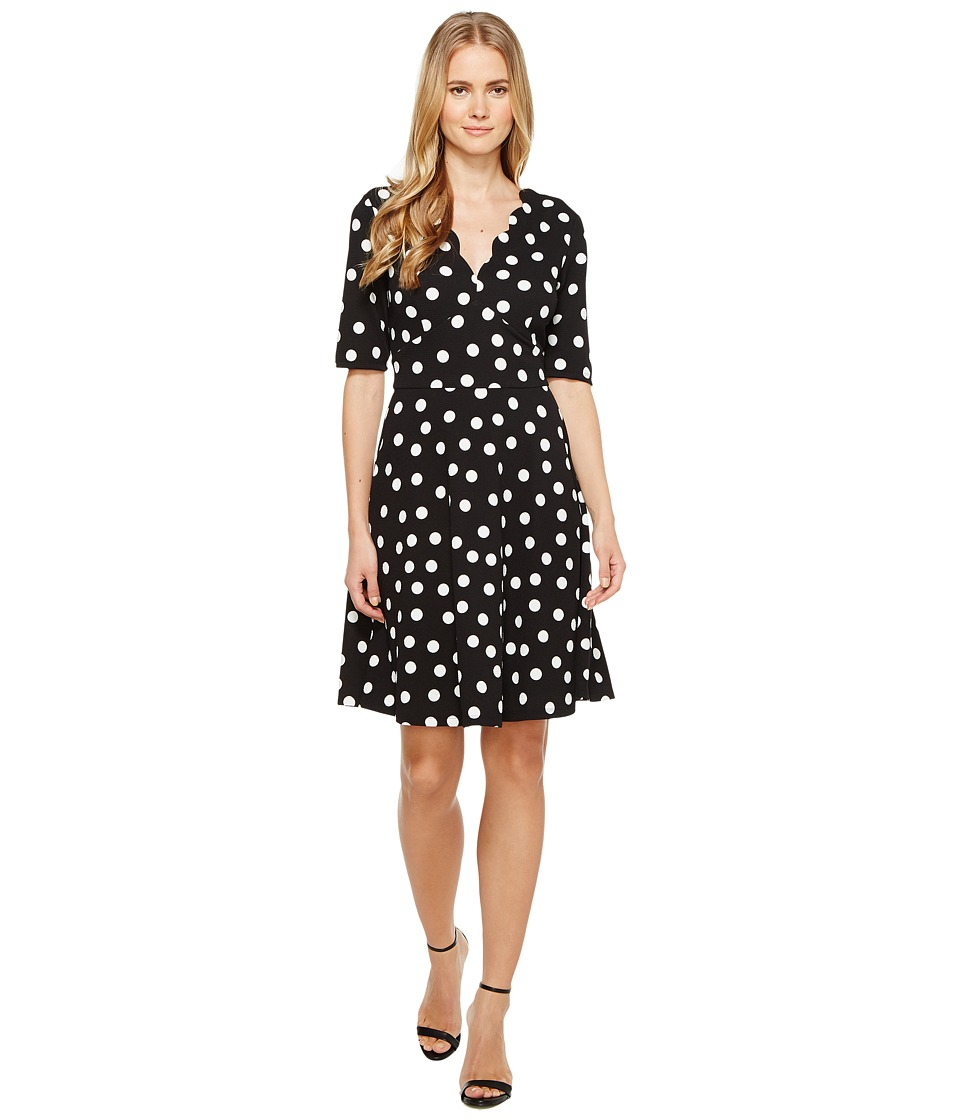 London Times Dot Scallop Neck Dress w/ Full Skirt (Black/White) Women
