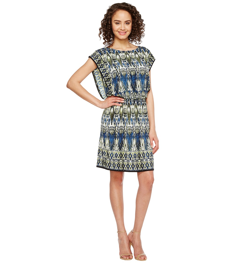 London Times Matte Jersey Blouson Dress (Blue Multi) Women
