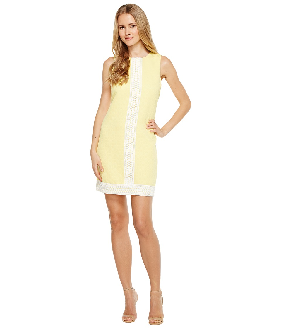 London Times - Dot Jacquard Shift Dress (Yellow) Women's Dress
