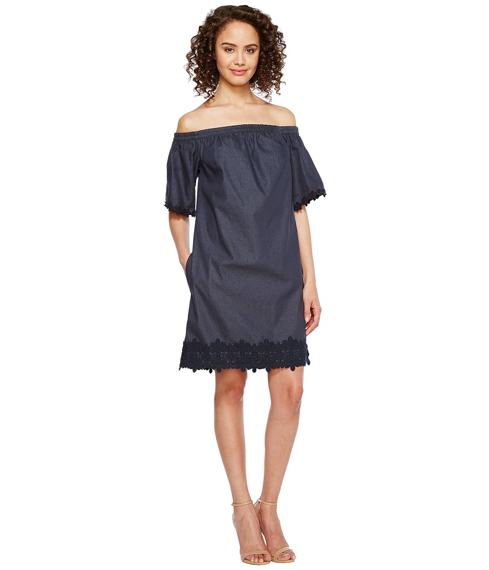 London Times - Off the Shoulder Shift Dress (Denim) Women's Dress